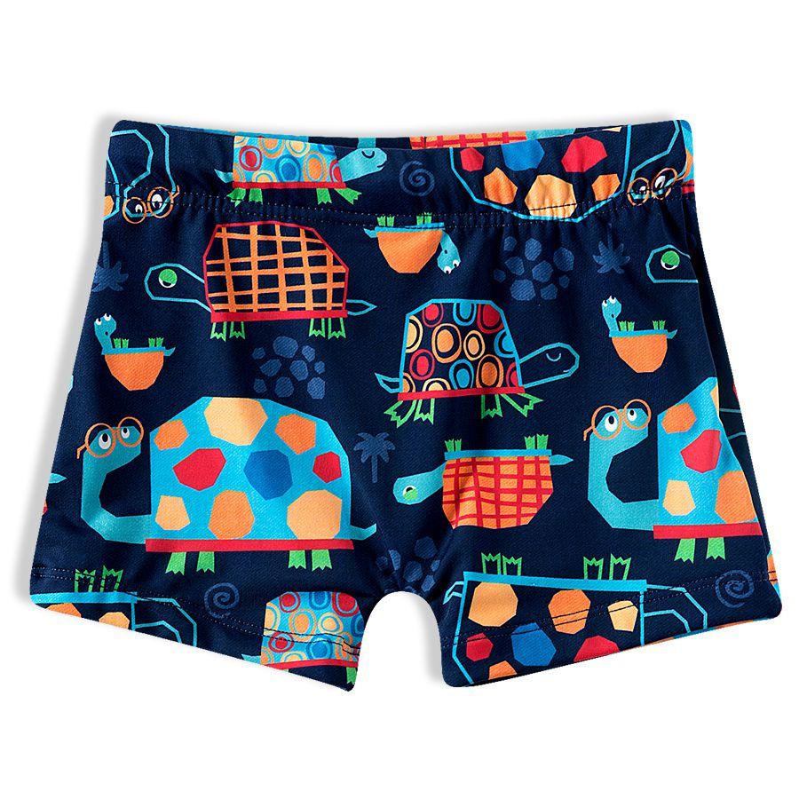 Shorts Praia Infantil Tartarugas Marinho Tip Top