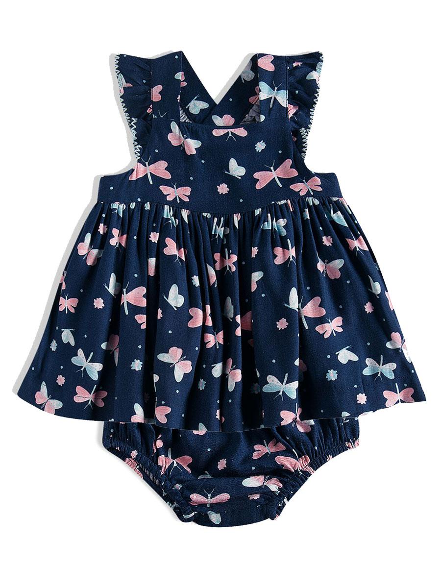 Vestido Bebê Borboletas Marinho Tip Top