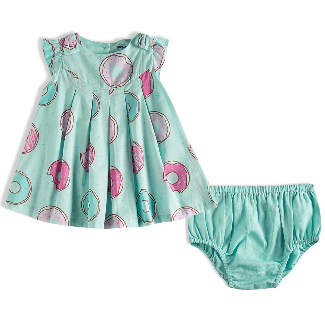Vestido Bebê Donuts Verde Água Tip Top