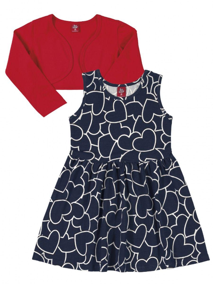 Vestido Infantil com Bolero Cotton Corações Marinho Bee Loop