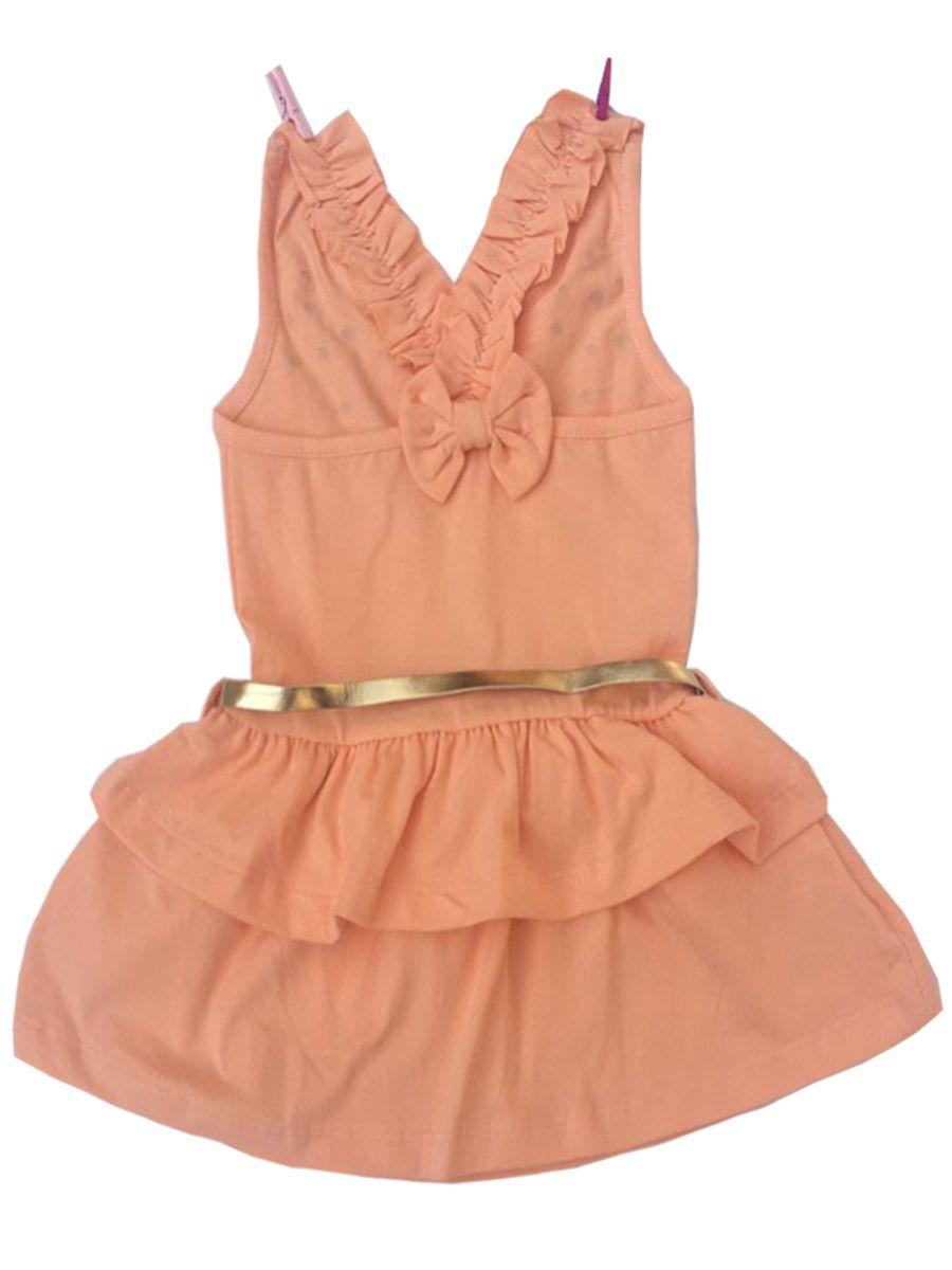 Vestido Infantil Sem Manga Cotton com Cinto Salmão Pandareco´s