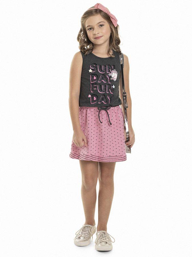 Vestido Infantil com Laço Rosa Quimby