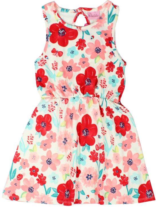 Vestido Infantil Sem Manga Cotton Floral Creme Duduka DDK