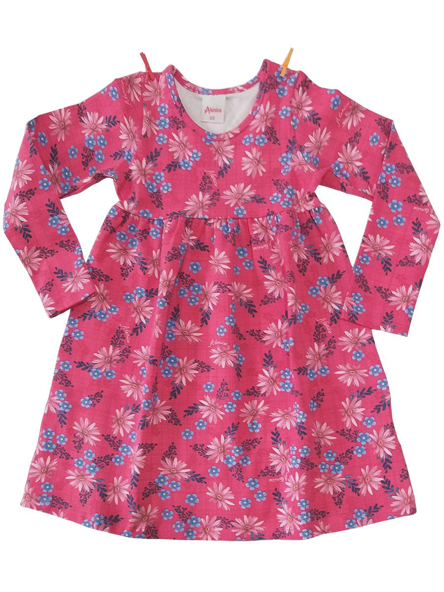Vestido Infantil Manga Longa Cotton Florido Rosa Alenice
