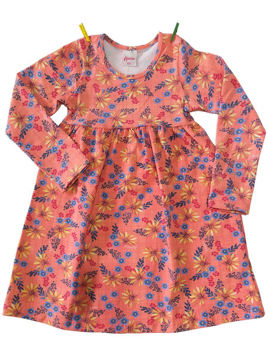 Vestido Infantil Manga Longa Cotton Florido Salmão Alenice