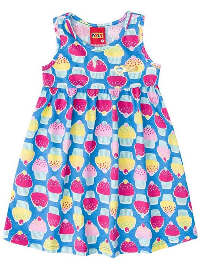 Vestido Bebê Sem Manga Cupcakes Azul Kyly