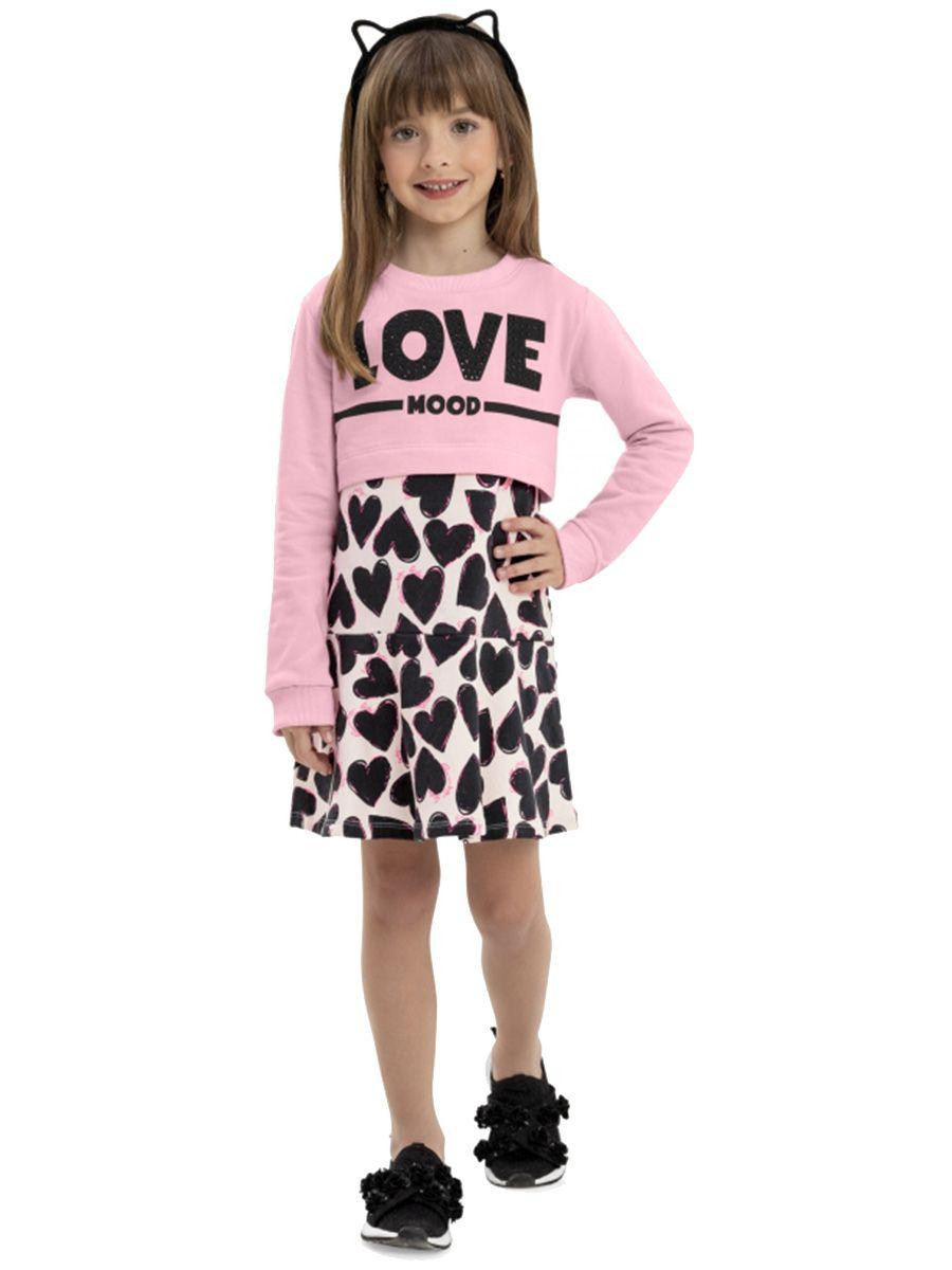 Vestido e Blusa Infantil Rosa Quimby