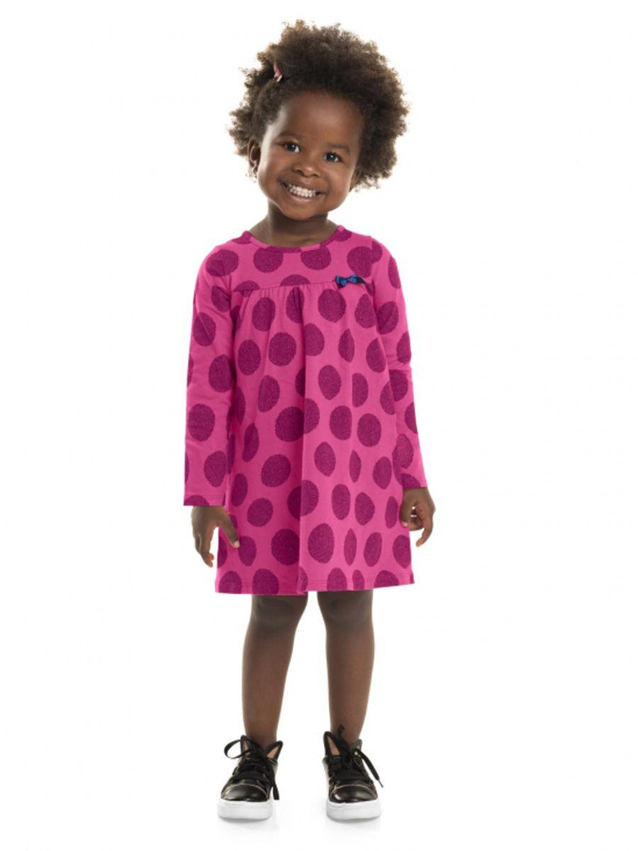 Vestido Infantil Manga Longa Bolas Pink Bee Loop