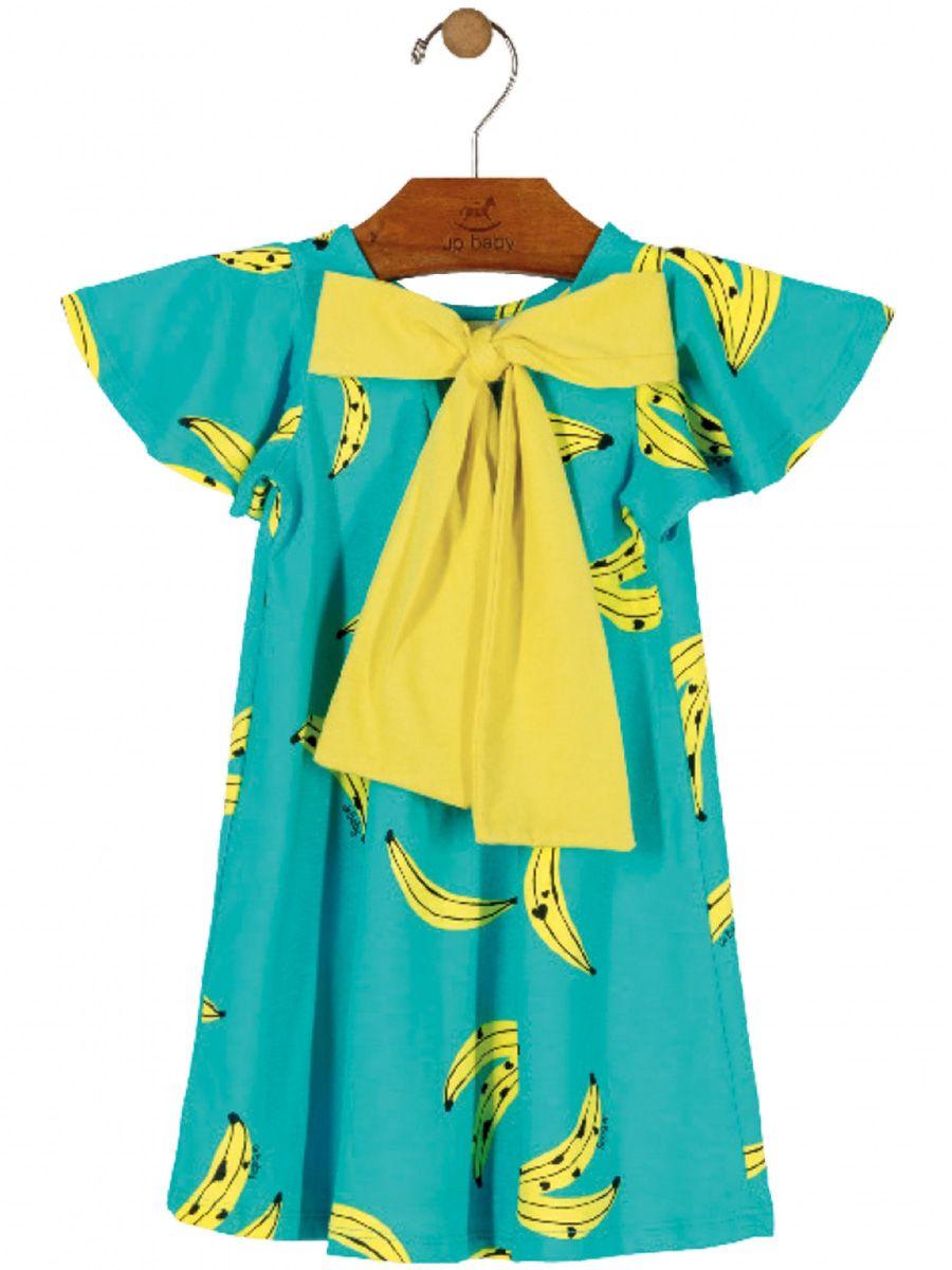 Vestido Bebê Manga Curta Bananas Turquesa Up Baby