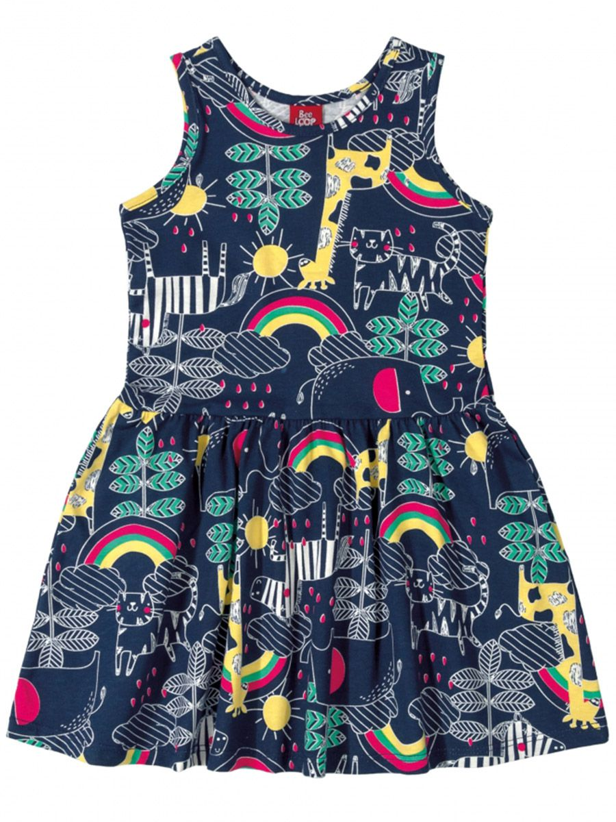 Vestido Infantil Estampado Marinho Bee Loop