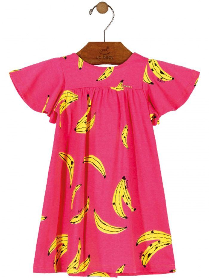 Vestido Infantil Manga Curta Bananas Pink Up Baby