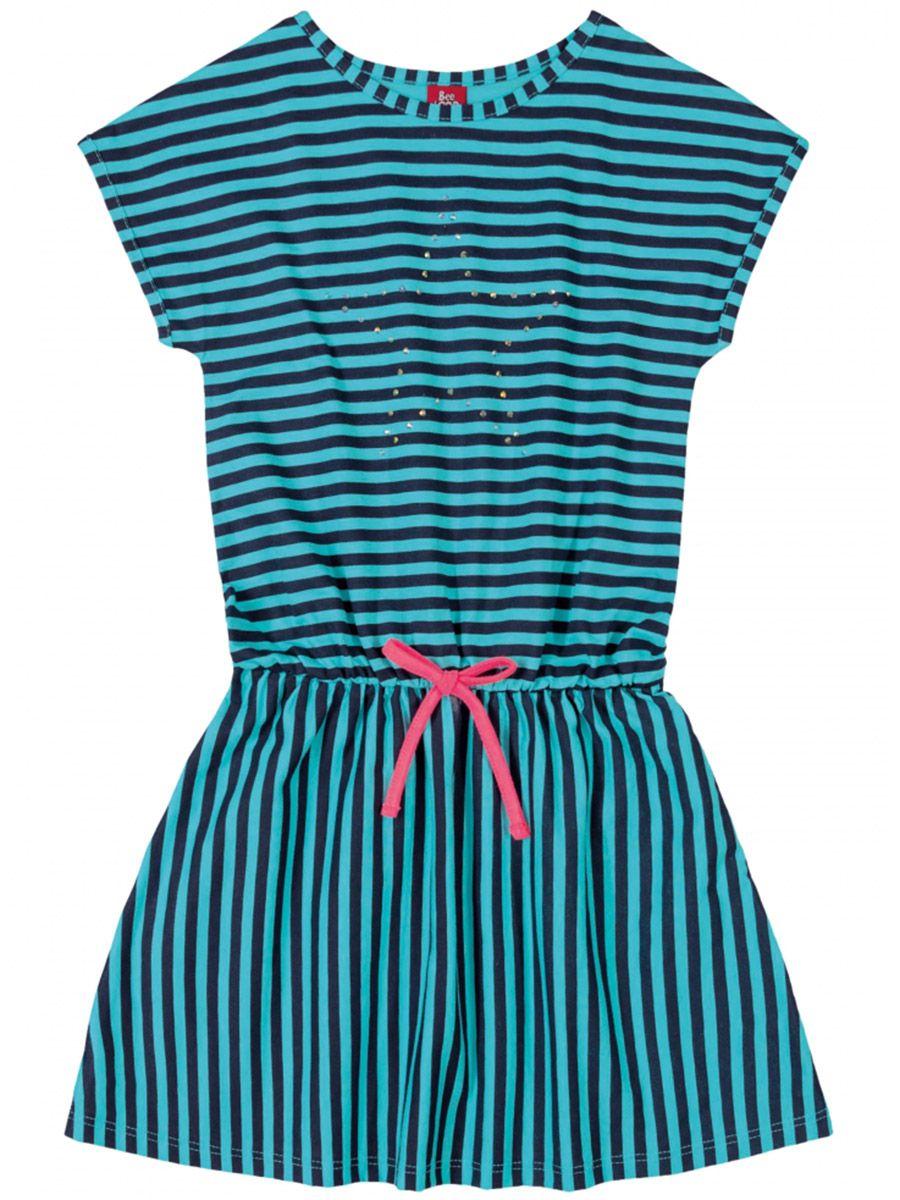 Vestido Infantil Listrado Azul Bee Loop