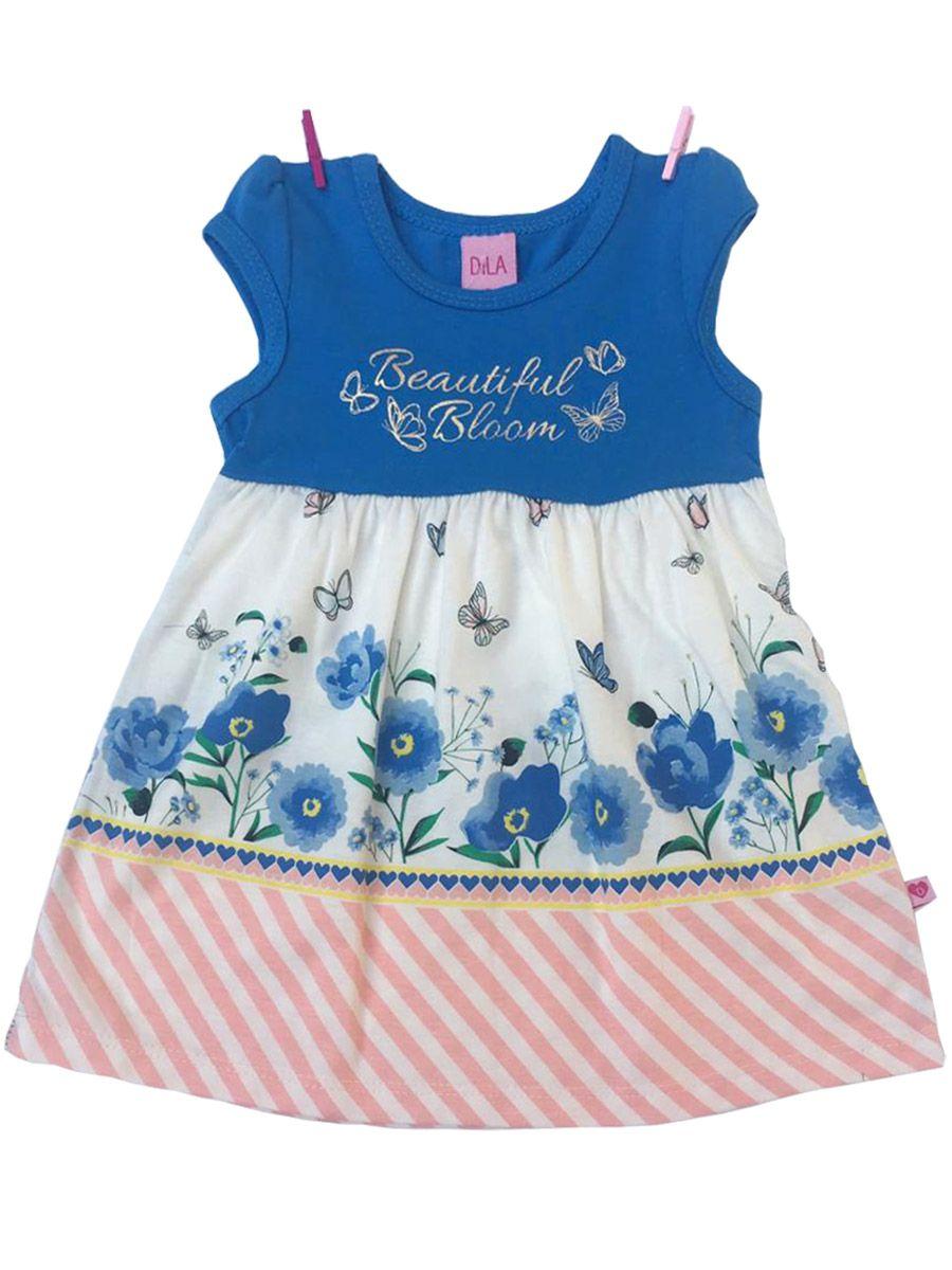Vestido Bebê Sem Manga Florido Azul Dila
