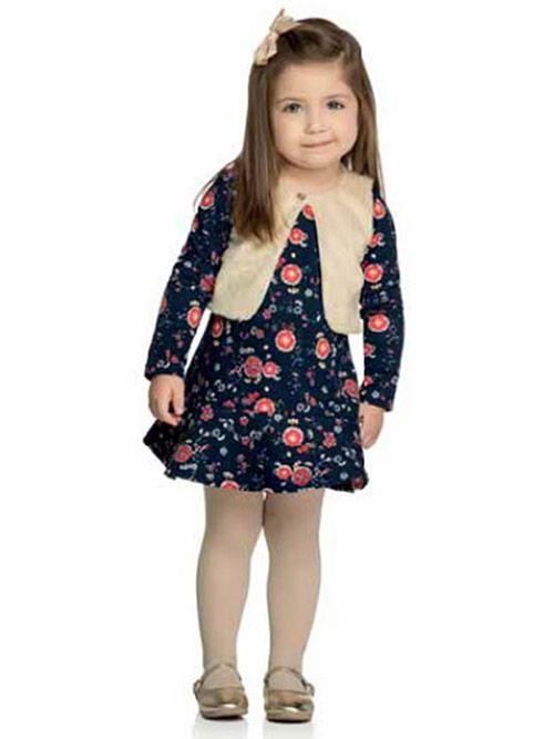 Vestido Infantil Manga Longa Florido Marinho com Colete de Pelo Elian