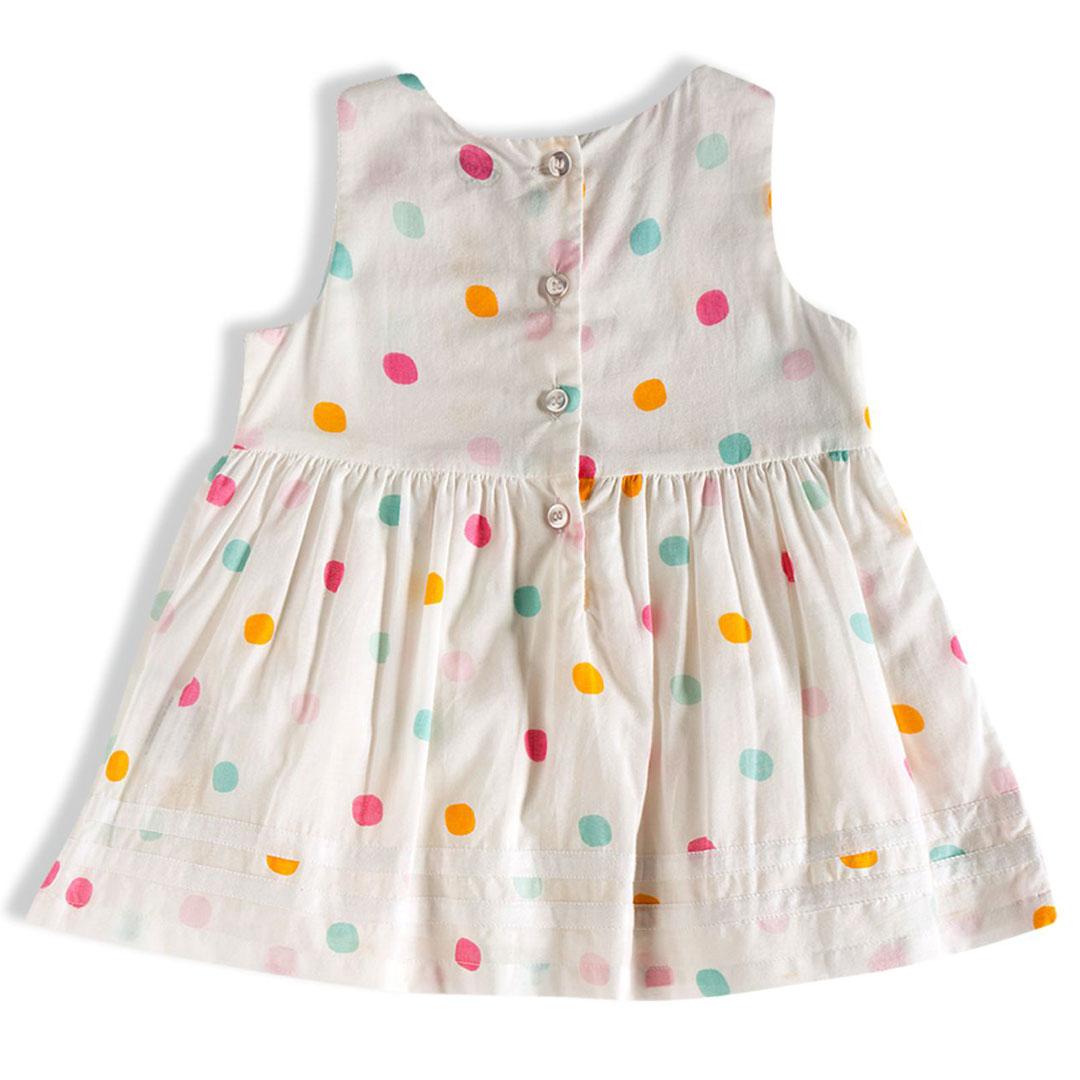 Vestido Infantil Bolinhas Off White Tip Top