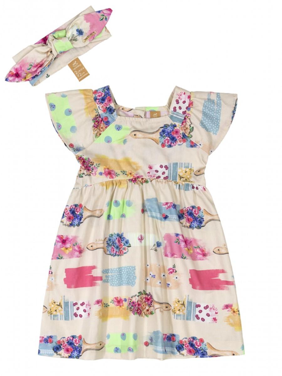 Vestido Infantil com Faixa em Tecido Gelo Up Baby