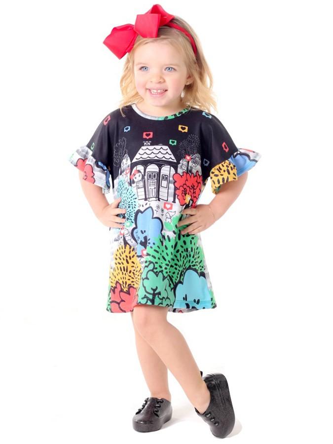 Vestido Infantil com Tiara Laço Casinha na Floresta Preto Saia de Filó