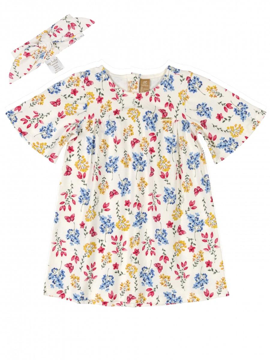 Vestido Infantil Manga Curta com Faixa Floral Bege Up Baby