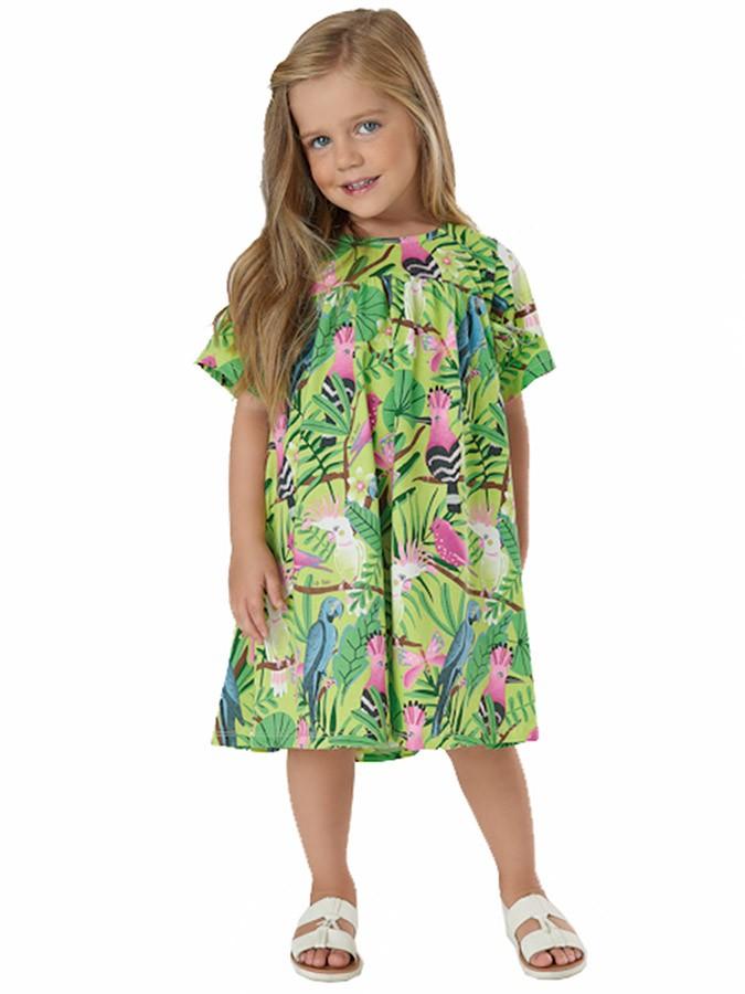Vestido Infantil Manga Curta Pássaros Tropical Verde Up Baby