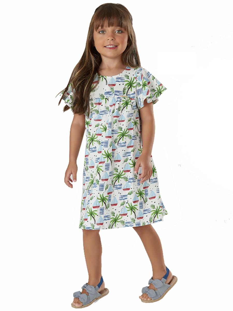 Vestido Infantil Manga Curta Veleiros Branco Up Baby