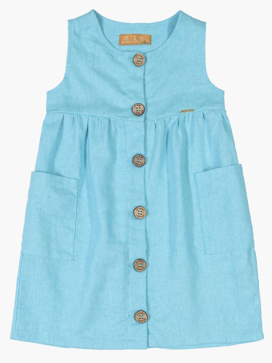Vestido Infantil Sem Manga em Linho Azul Claro Up Baby