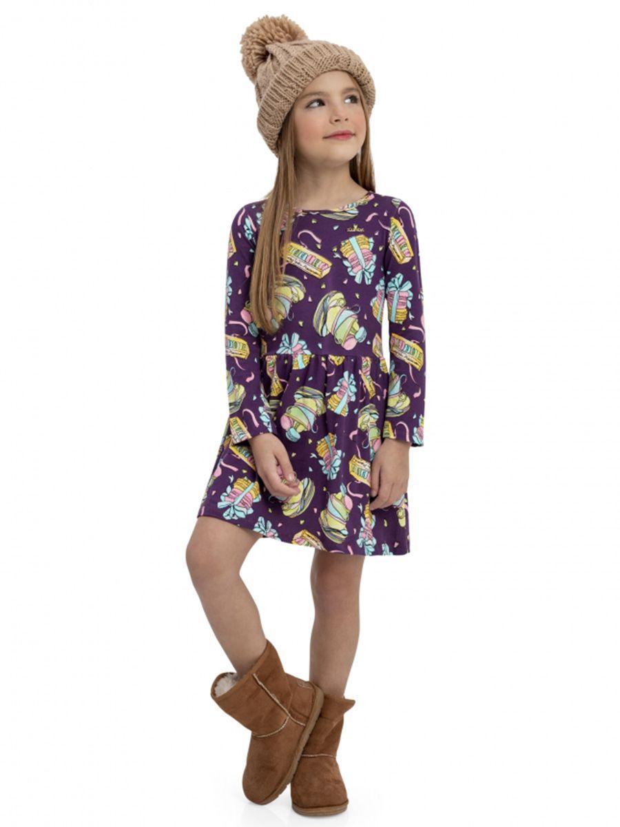 Vestido Infantil Manga Longa Vinho Quimby