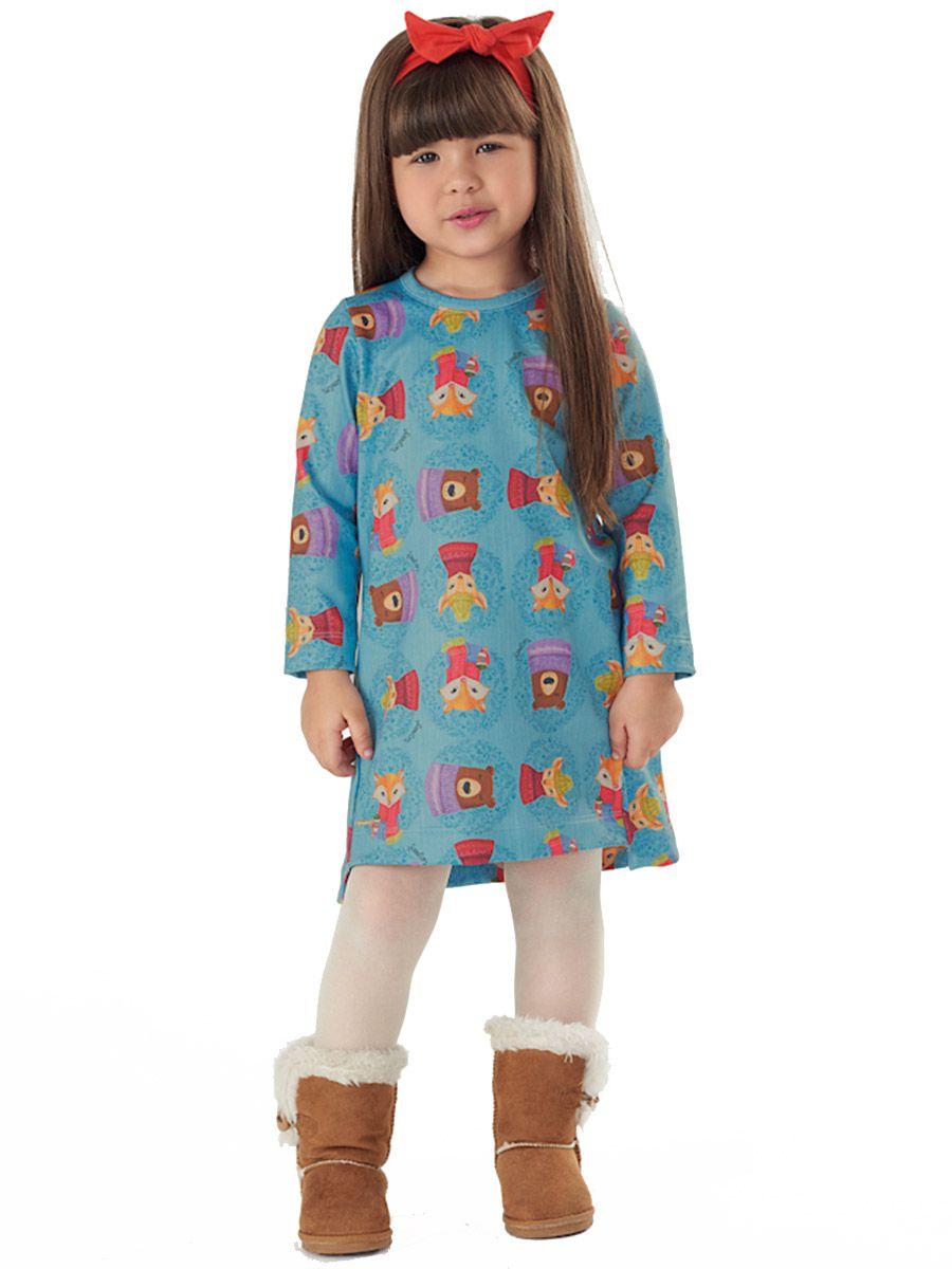 Vestido Infantil Manga Longa Sublimático Azul Up Baby