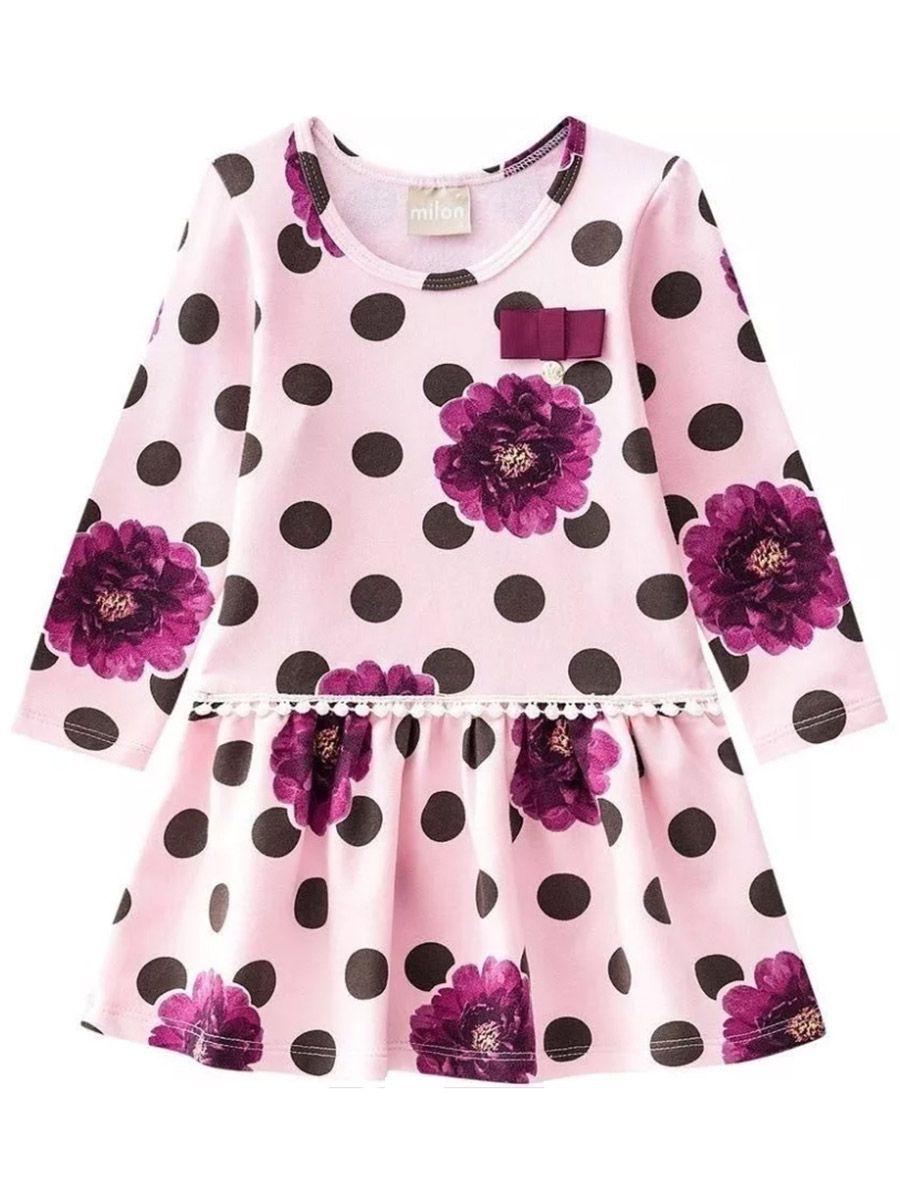 Vestido Bebê Manga Longa Poás Rosa e Bordô Milon