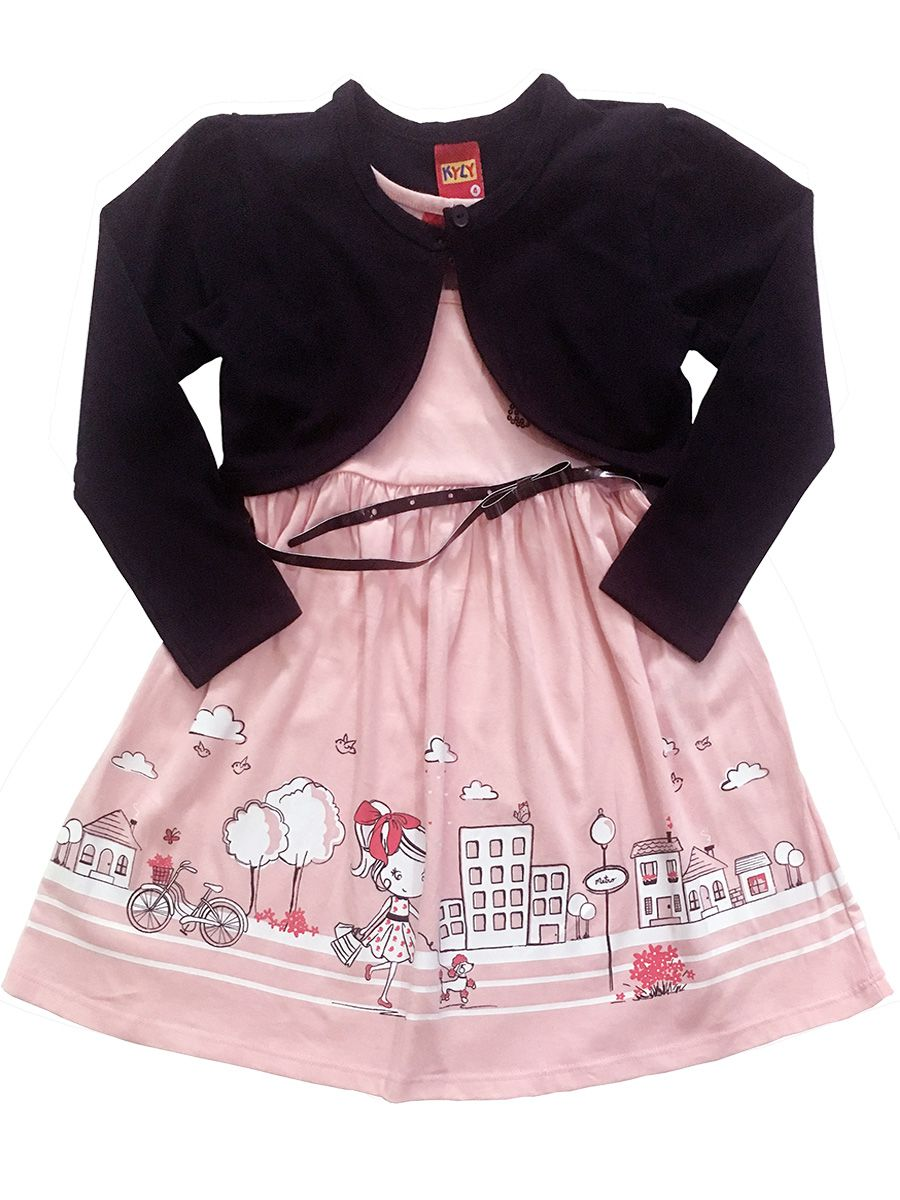 Vestido Infantil Manga Longa Rosa com Bolero e Cinto Kyly
