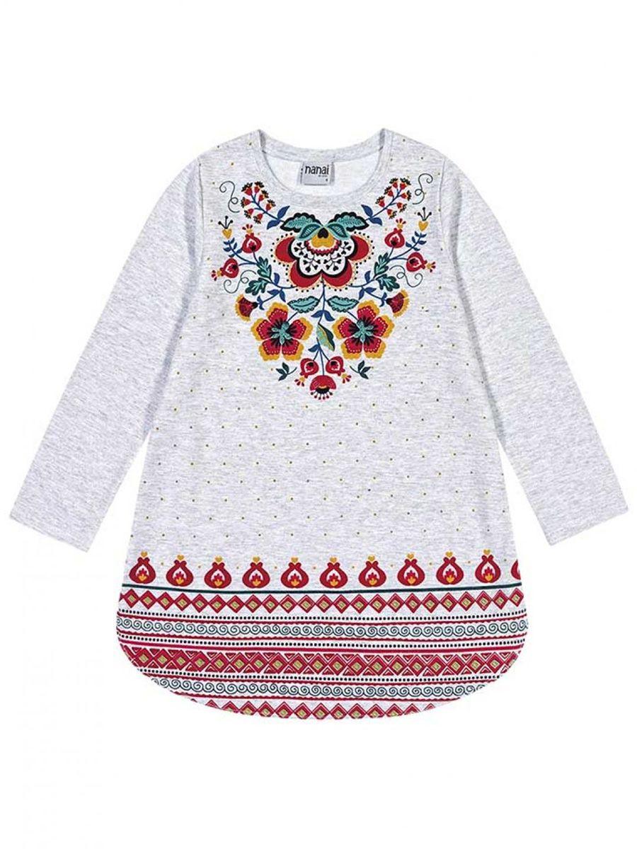 Vestido Infantil Manga Longa Tribal Cinza Nanai