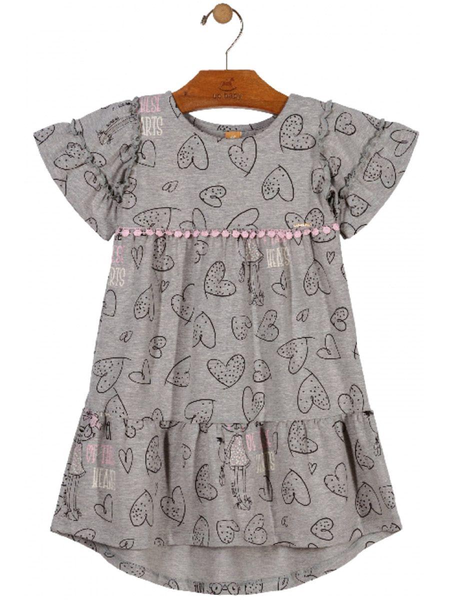 Vestido Infantil Manga Curta Corações Cinza Up Baby