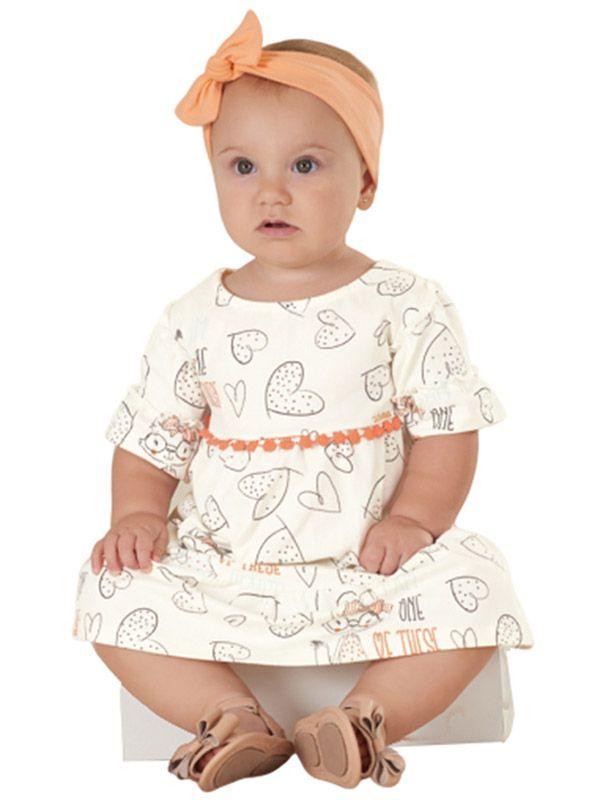 Vestido Bebê Manga Curta Corações Creme Up Baby