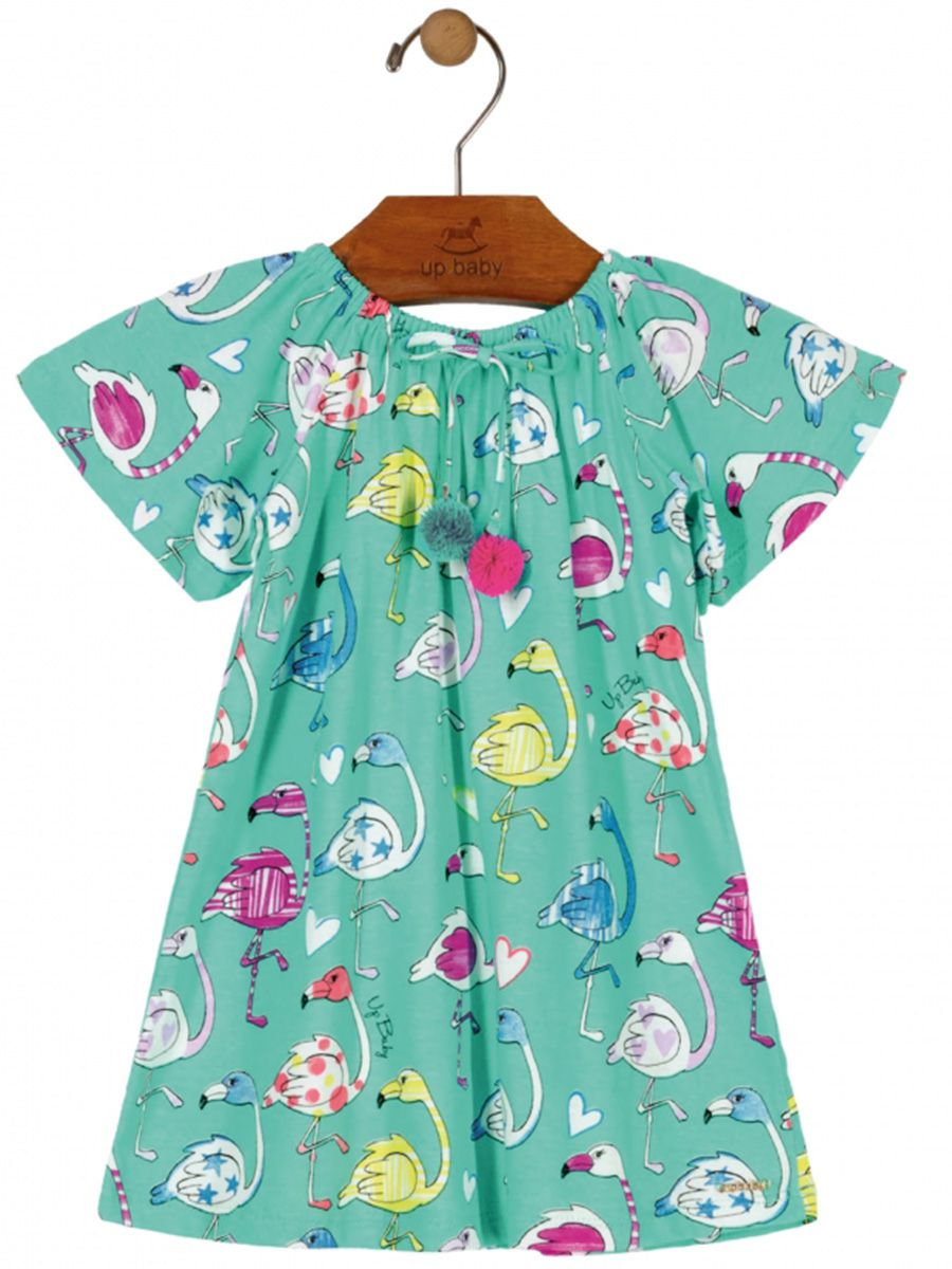 Vestido Infantil Manga Curta Flamingos Turquesa Up Baby