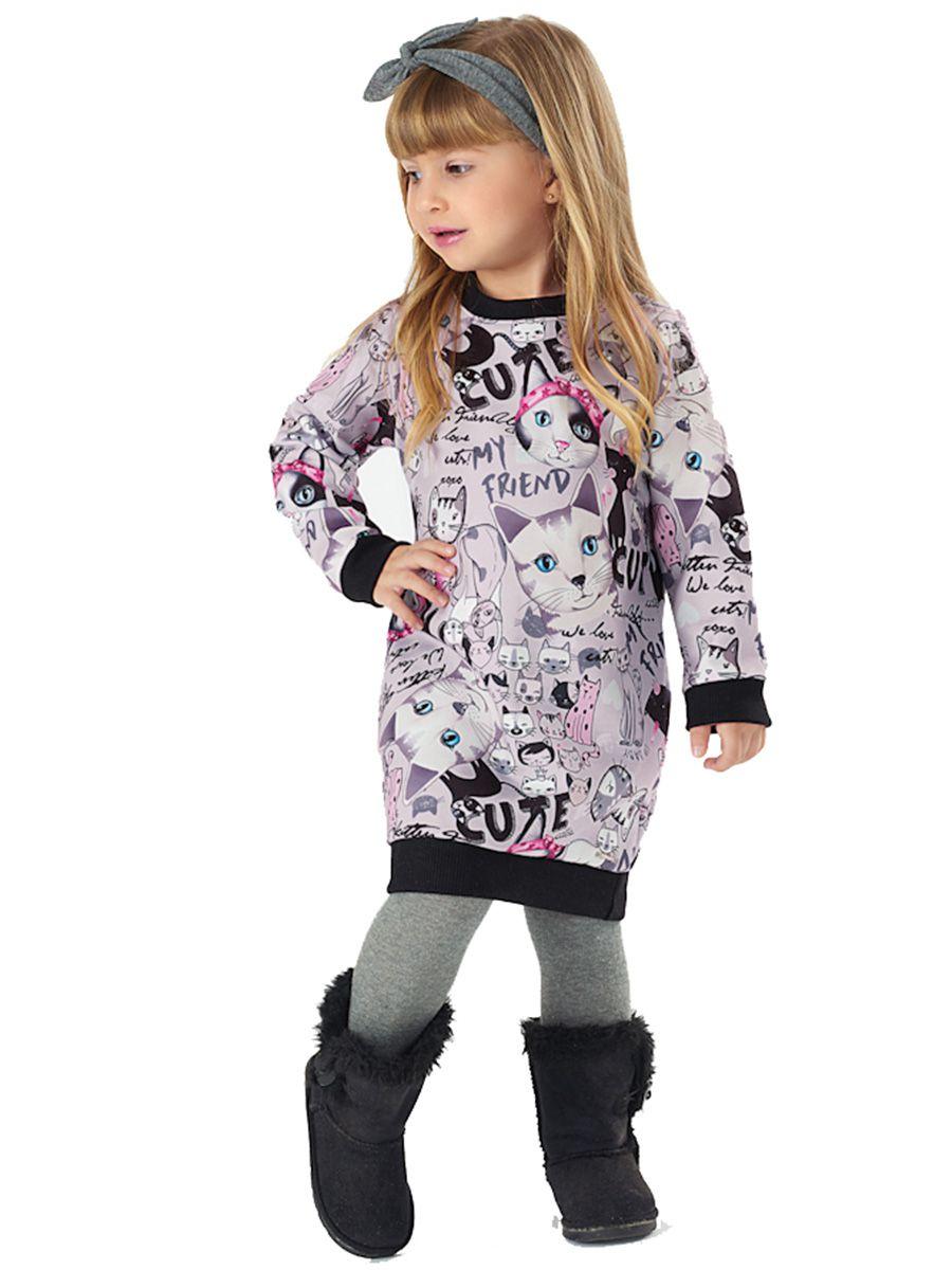 Vestido Infantil Manga Longa Sublimado Gatinhos Up Baby