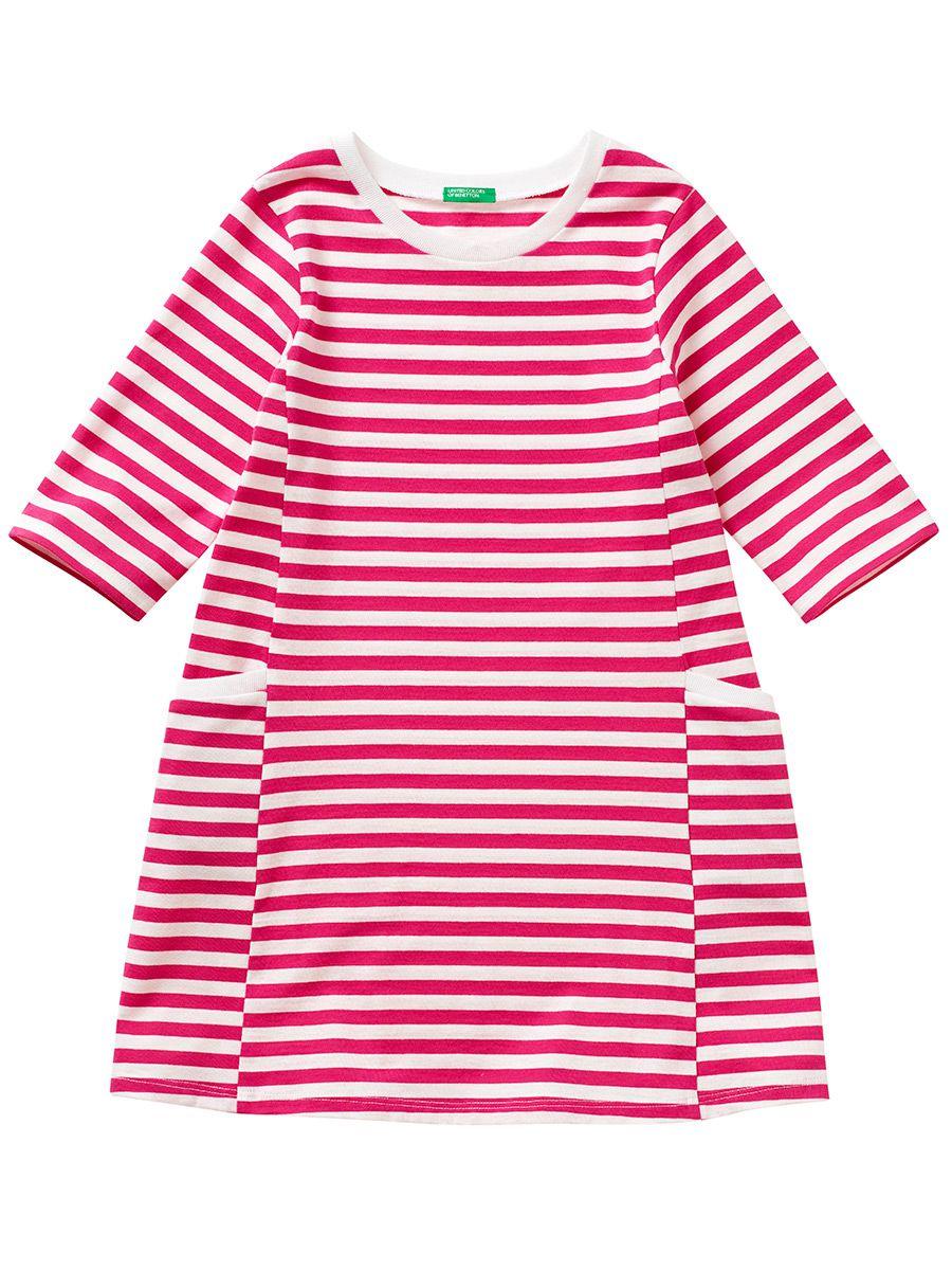 Vestido Infantil Meia Manga Listrado Rosa United Colors of Benetton