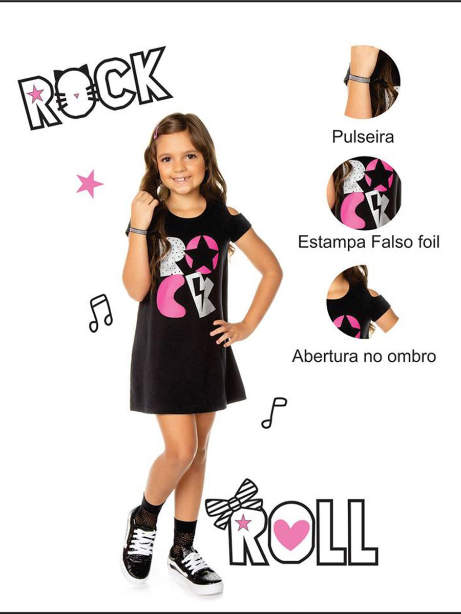 Vestido Infantil Manga Curta Rock Preto com Pulseira Strass Sport Sul