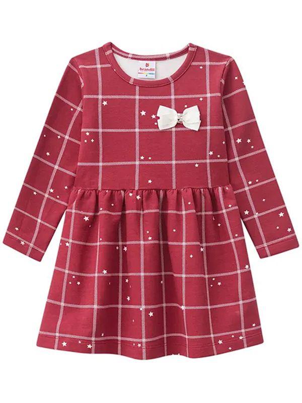 Vestido Infantil Manga Longa Quadros Bordô Brandili