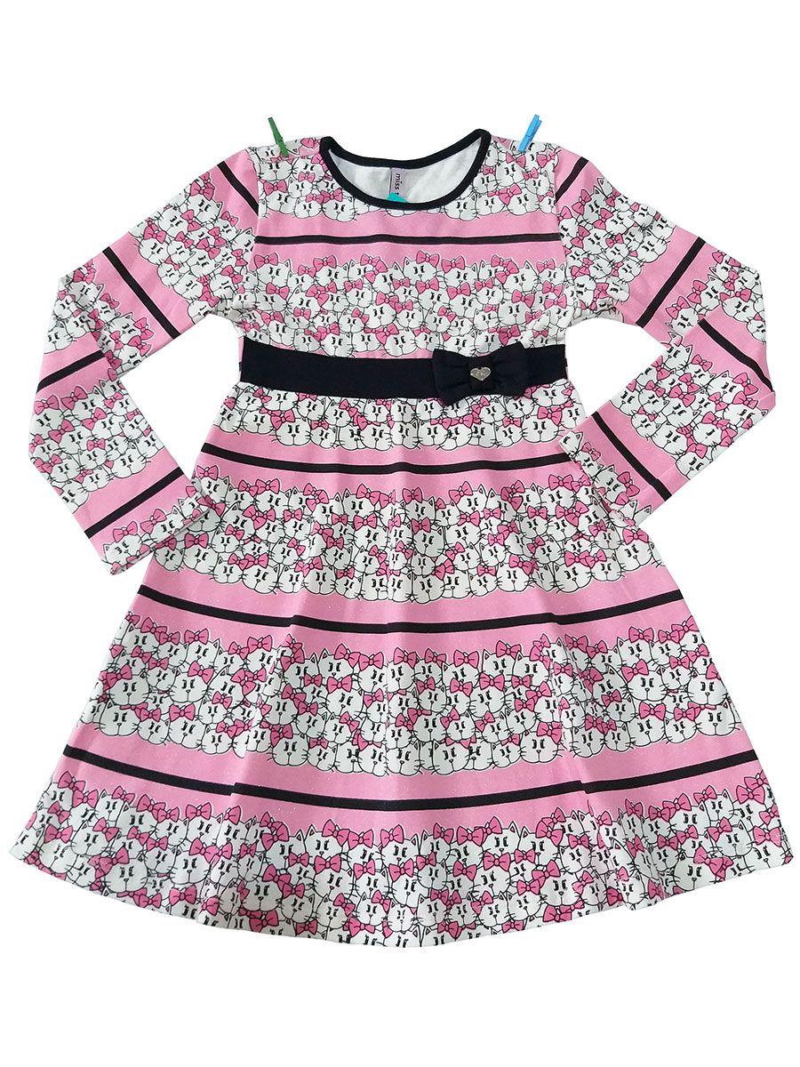 Vestido Infantil Manga Longa Gatinhas Rosa Miss TRM