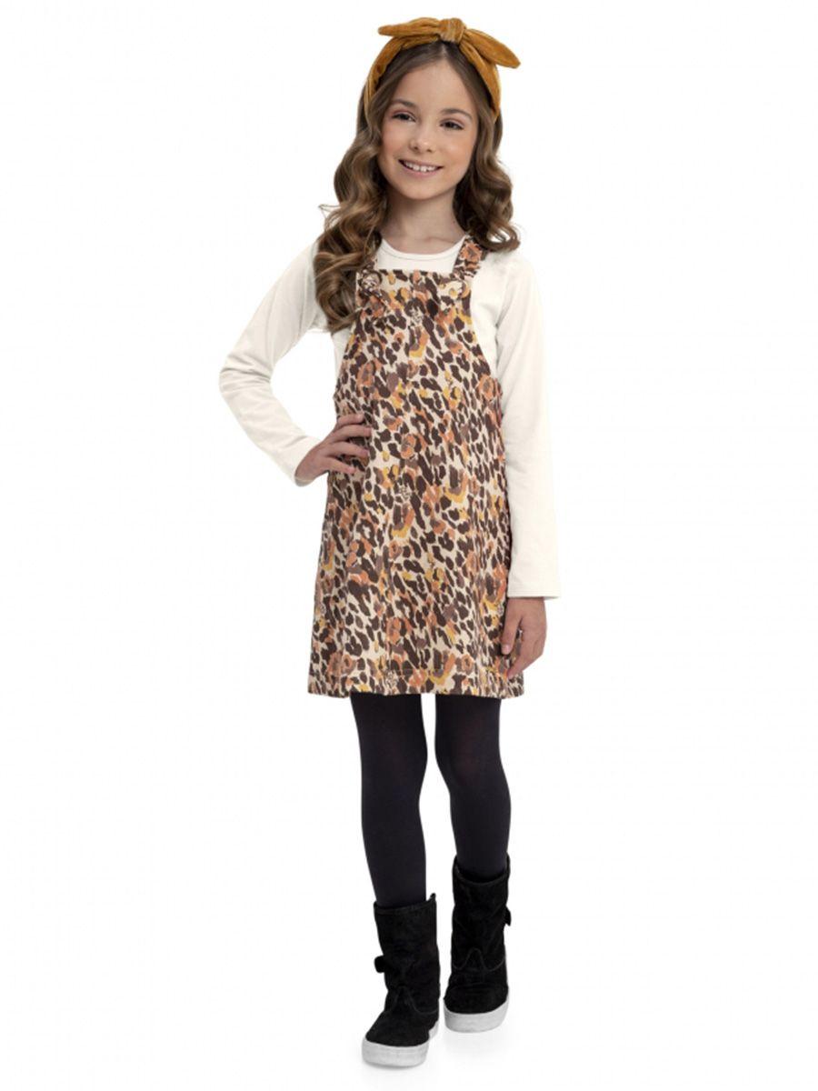 Vestido Salopete Infantil e Blusa Abstrato Quimby