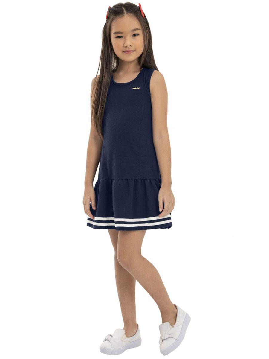 Vestido Infantil sem Manga Piquet Marinho Quimby