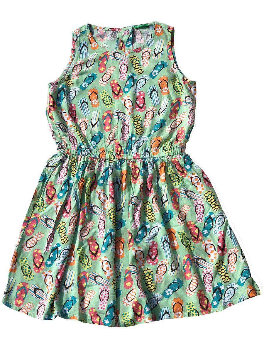 Vestido Infantil Sem Manga Chinelinhos Verde United Colors of Benetton