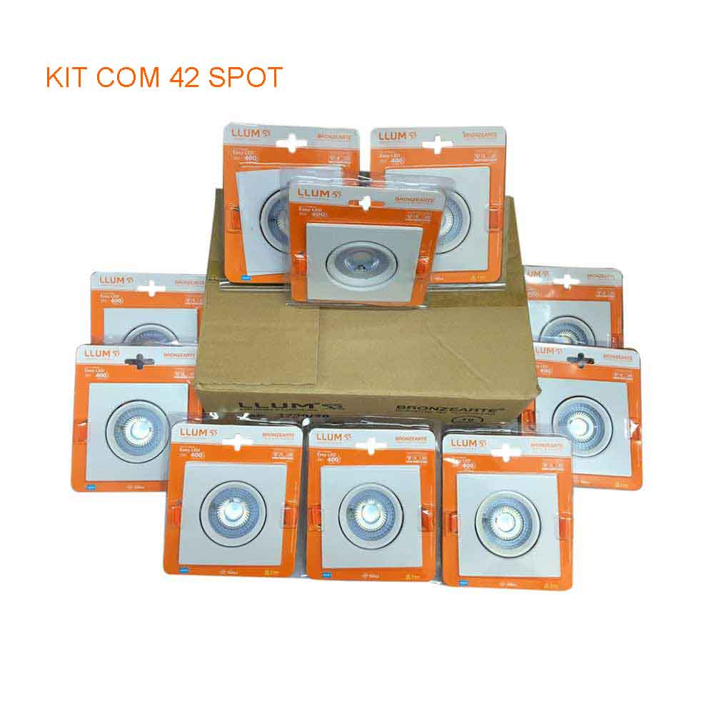 Kit com 42 Spot 5w Quadrado 6500k LLUM