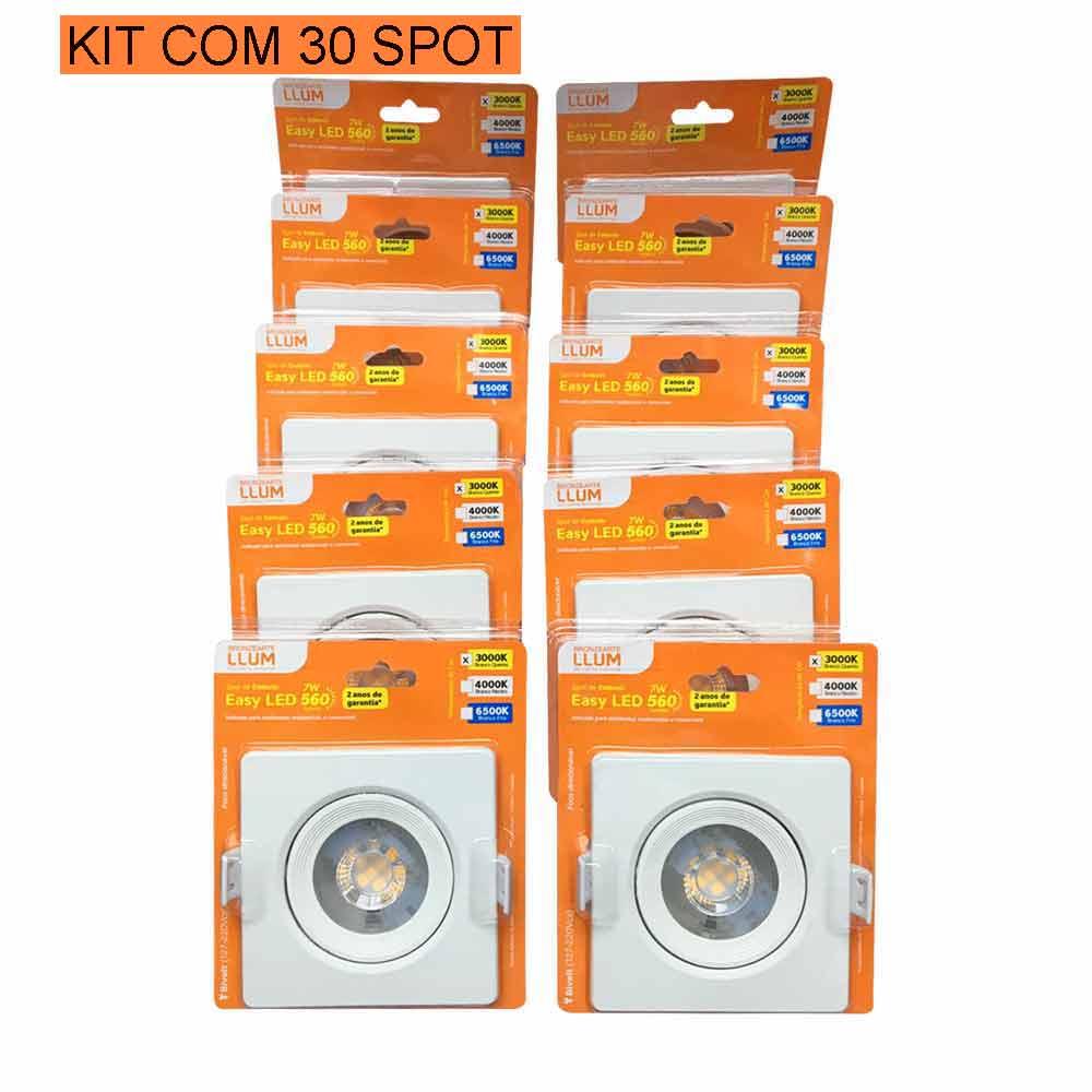 Kit com 30 Spot 7w Quadrado 3000k LLUM