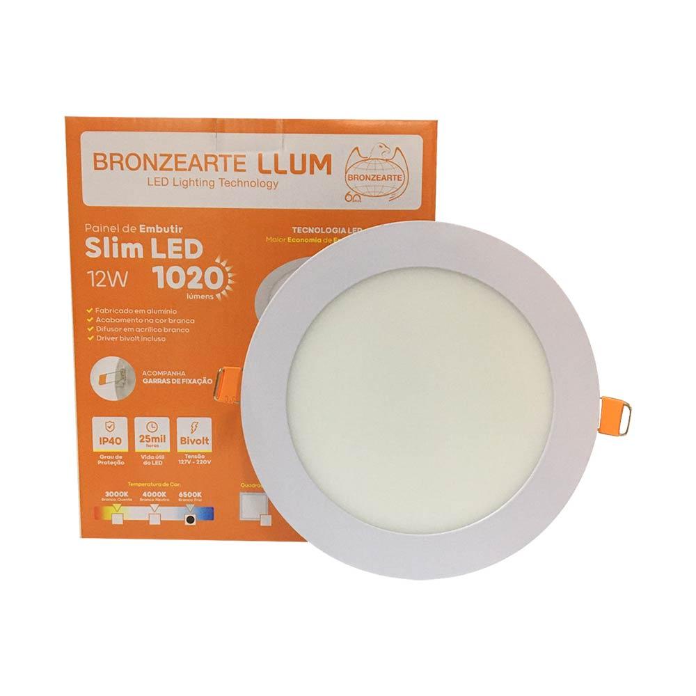 Painel led embutir redondo 12w 6500k - Llum