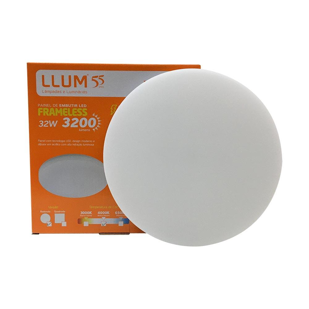 Painel led embutir redondo 32w Frameless 4000k- Llum