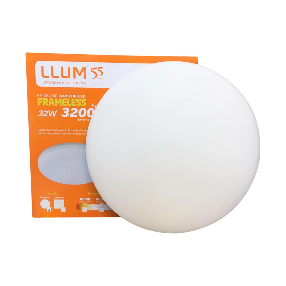 Painel led embutir redondo 32w Frameless 6500k - Llum