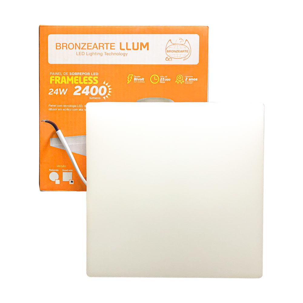 Painel led sobrepor quadrado 24w Frameless 4000k - Llum