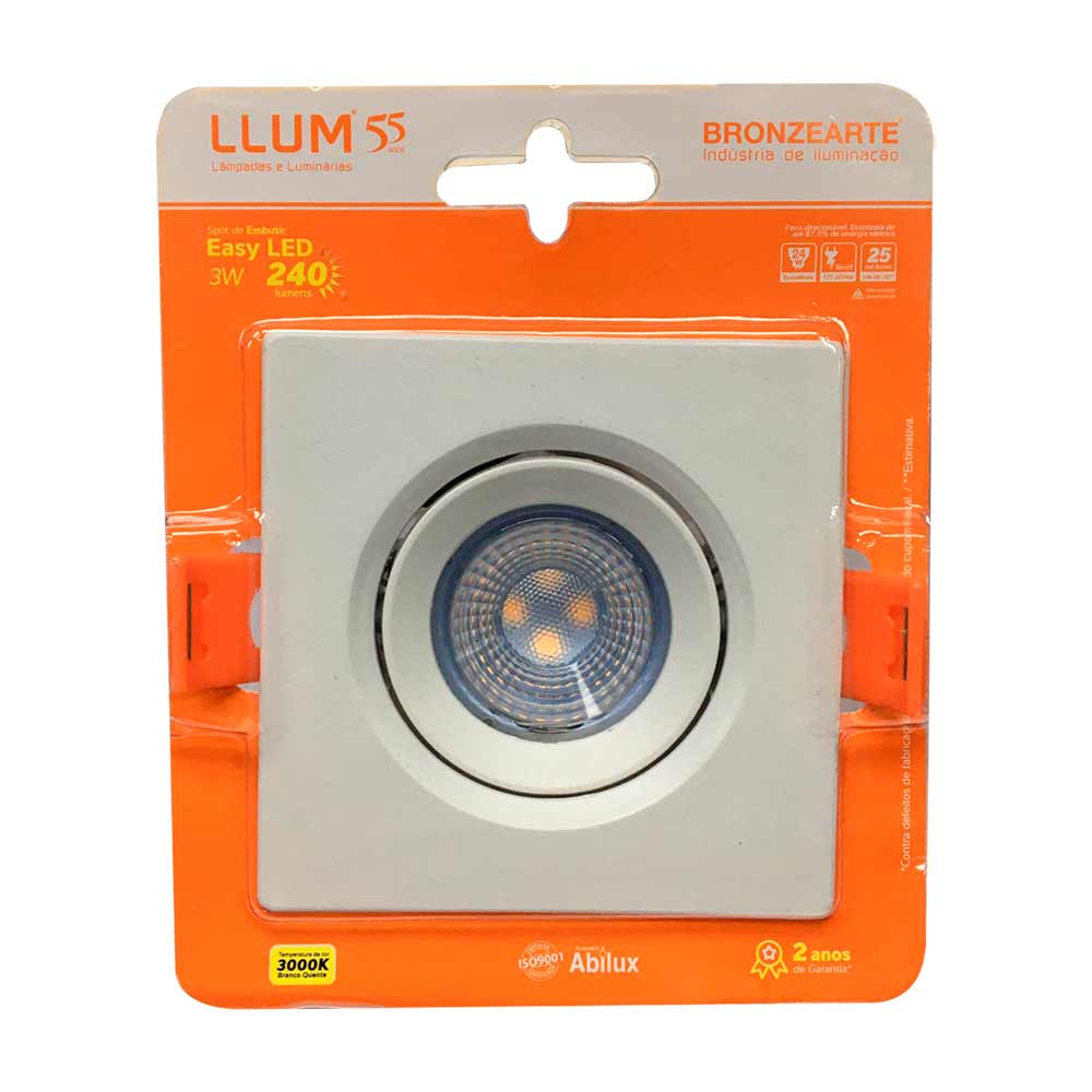 Spot led 3w 3000k quadrado - Llum