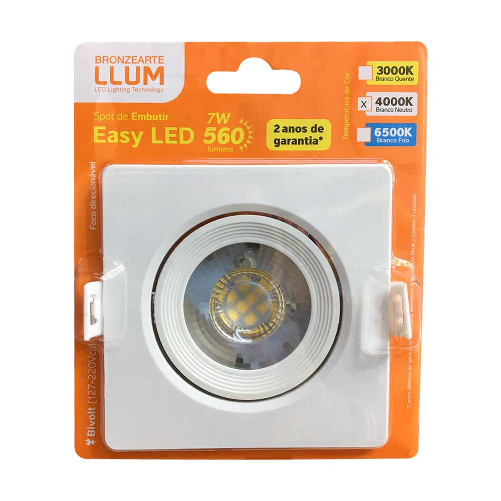 Spot led 7w 4000k quadrado - Llum