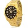 Relógio Dumont Masculino Dourado e Preto DU2115AAX4P com Carteira Lebrave de Brinde